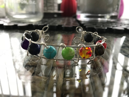 Handcrafted Wire Wrap Chakra and Lava Bead Bracelet