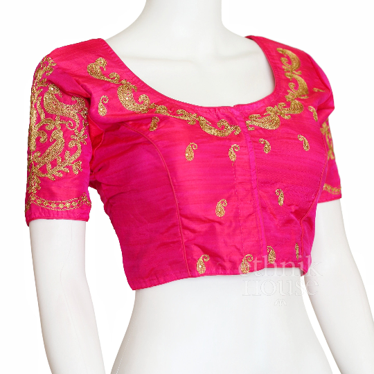 Designer silk saree blouse with gold embroidery