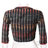 Readymade designer high neck ikkat handloom cotton blouse with long sleeve