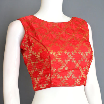 Designer brocade silk saree blouse with boat neck and deep back neck/ Designer brocade silk croptop