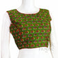 Kalamkari cotton boat neck readymade blouse with bow back
