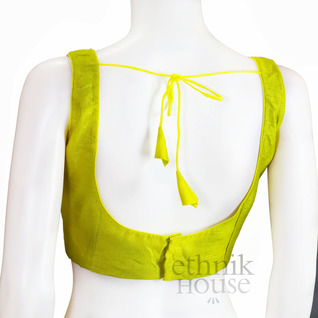 Silk square neck readymade sleeveless blouse