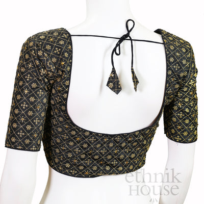 Silk blouse with sequin embroidery