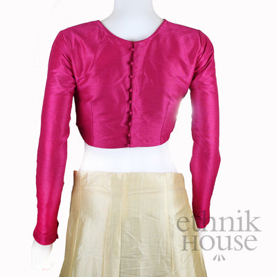 Plain silk blouse with full sleeve