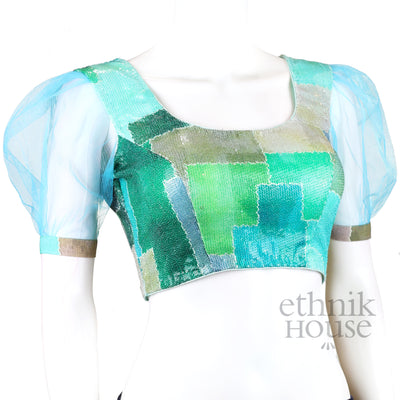 Designer blouse with net puff sleeve