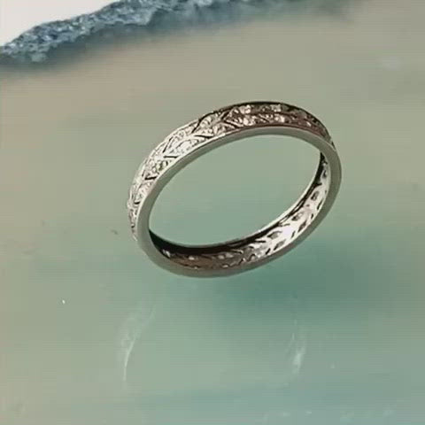 An Old Cut Diamond Platinum Eternity Ring