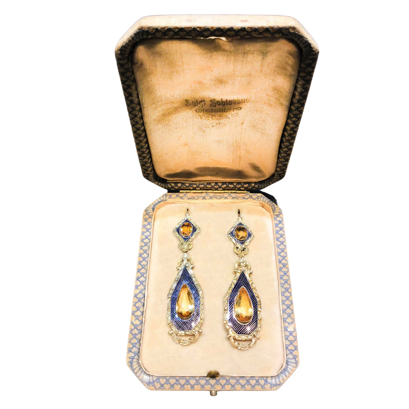Italian Citrine, Criss Cross Blue Enamel Drop Earrings, 18ct Gold