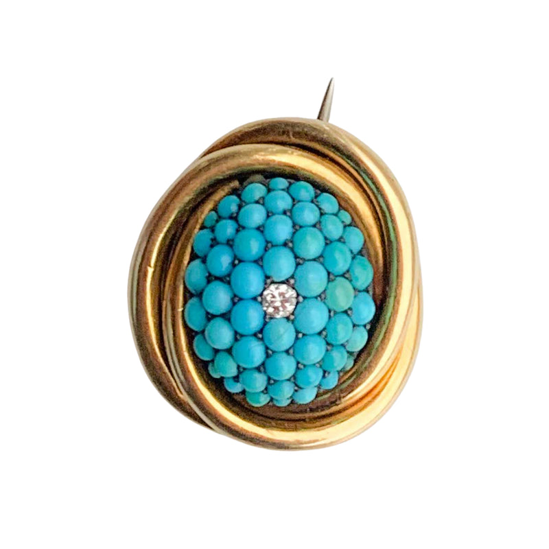Turquoise 15ct Gold & Diamond Brooch