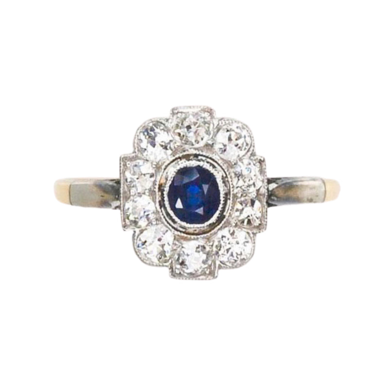 A 1920s Montana Diamond and Sapphire Ring