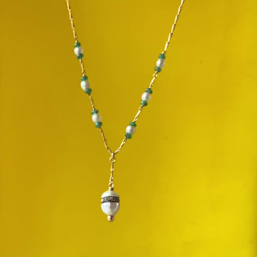 A Pearl, Cabochon Emerald and Diamond Necklace
