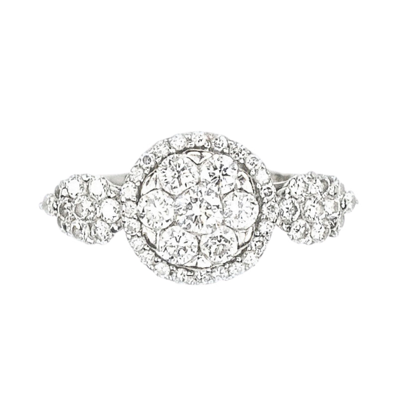 Modern Diamond Daisy Cluster 18ct Gold ring with Diamond Shoulders c.1980s