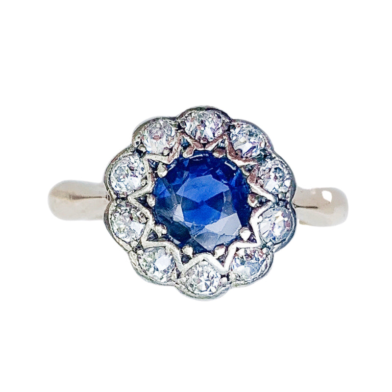 A 1910 Sapphire and Diamond Cluster Ring
