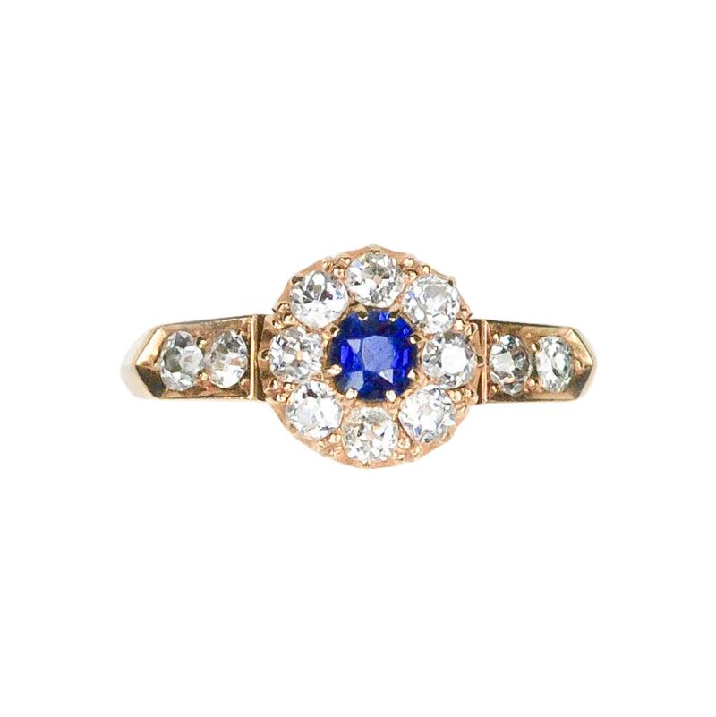An antique Sapphire and Diamond Cluster Ring
