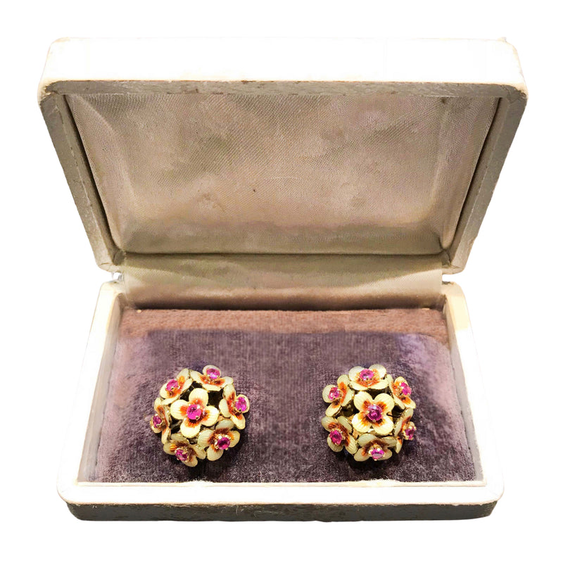 A pair of 1950s Gold Ruby and Enamel Clip On Earrings