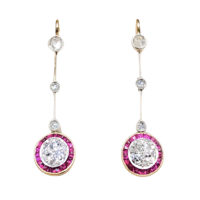 Edwardian Platinum, Ruby & Diamond 18ct Gold Target Style Drop Earrings