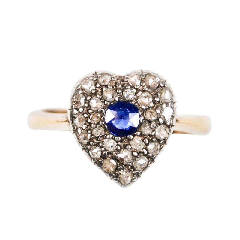 A 1900s Sapphire & Rose Diamond Heart Ring