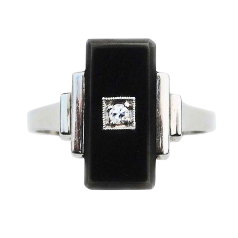 An Art Deco Onyx and Diamond Ring