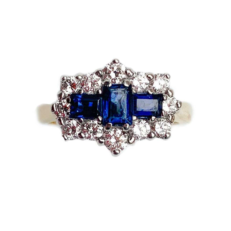 Geometric Sapphire & Diamond cluster 18ct Gold ring c.1950s