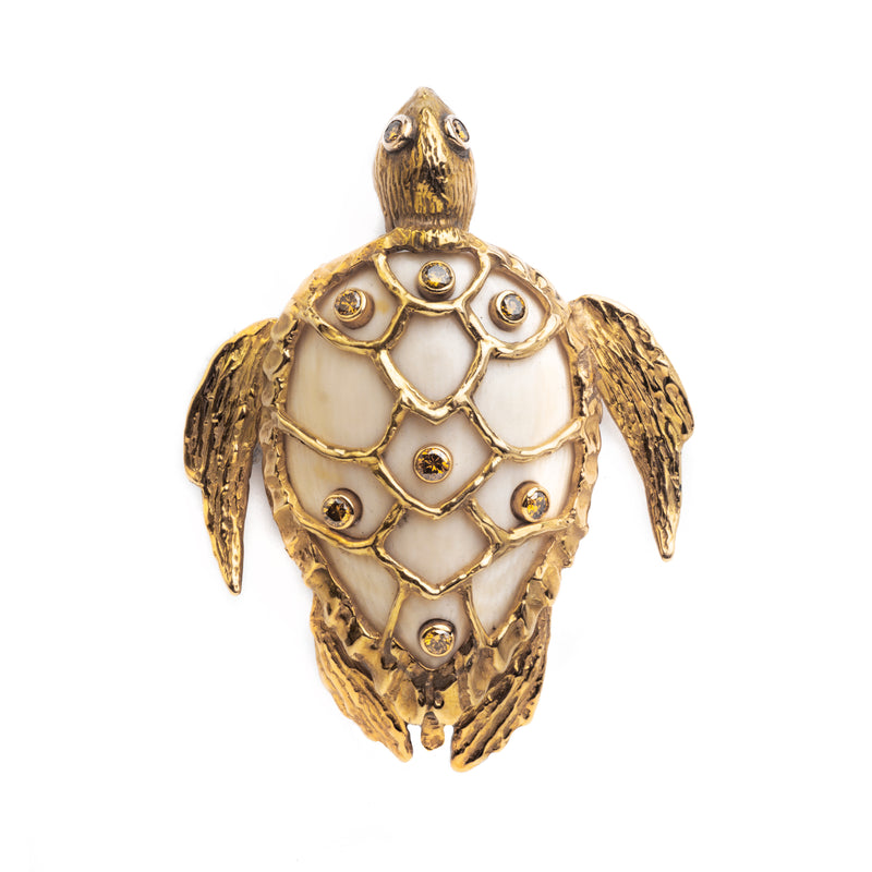 A Diamond and Gold Turtle Brooch by Roy King