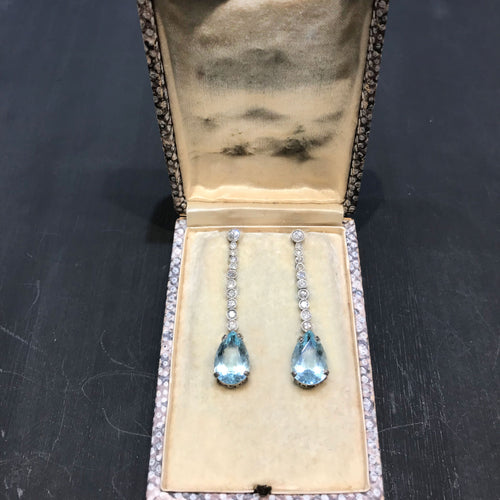 Art Deco Aquamarine Platinum Diamond drop earrings