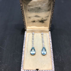 Aquamarine platinum diamond drop earrings c.1930s