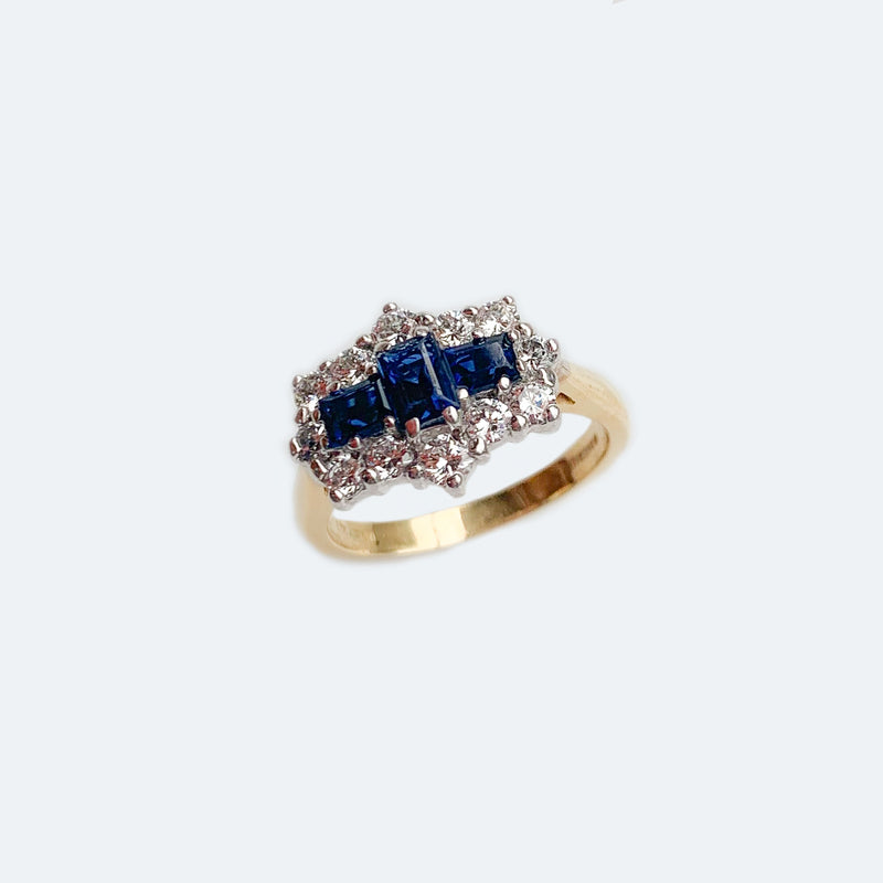 Geometric Sapphire & Diamond cluster 18ct Gold ring