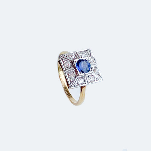 Art Deco Square Sapphire & Diamond, 18ct Gold & Platinum Ring