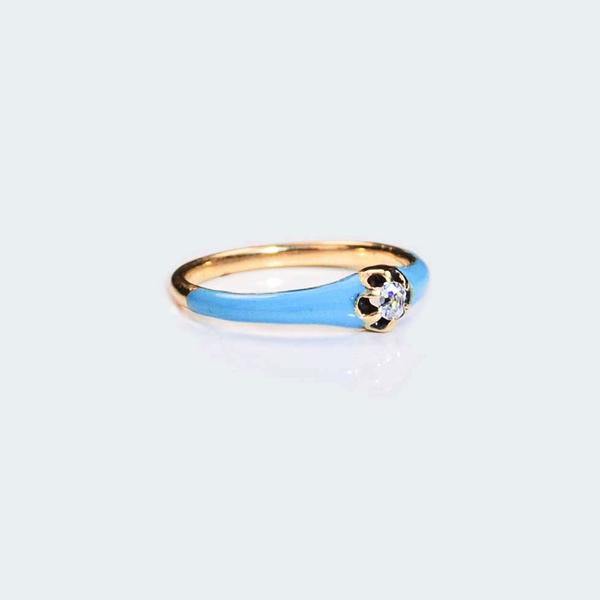 Diamond Gold Turquoise Enamel ring **SOLD**