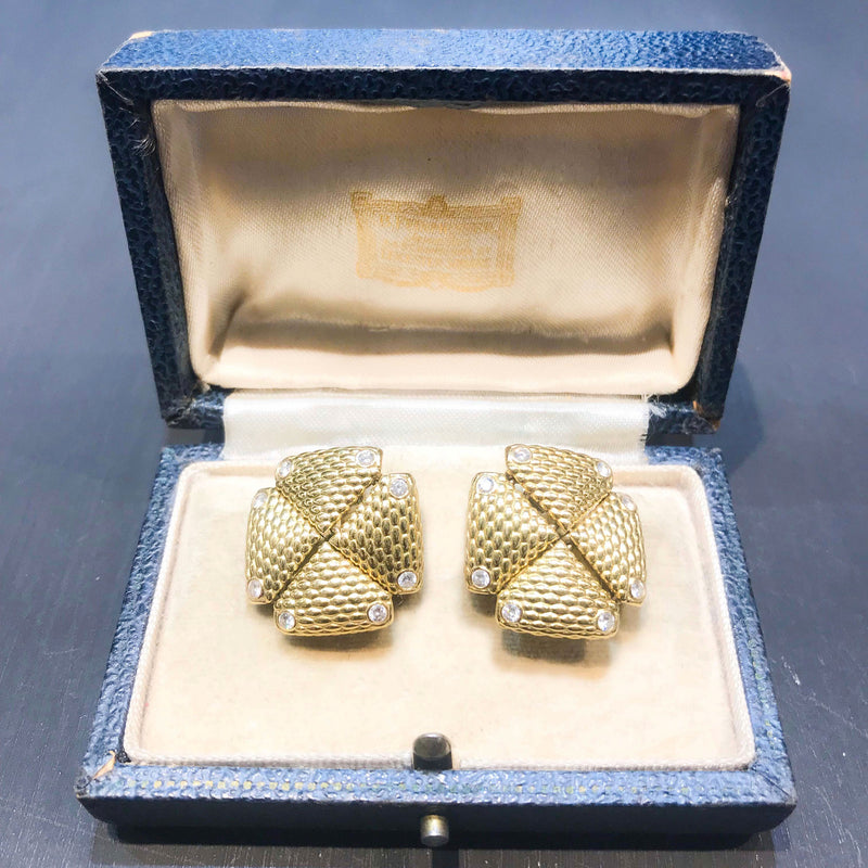 18ct Gold Diamond earrings c.1990s