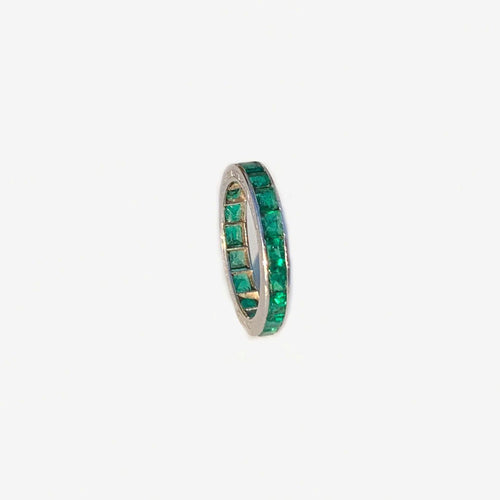 Edwardian emerald eternity ring set in handcrafted platinum **SOLD**