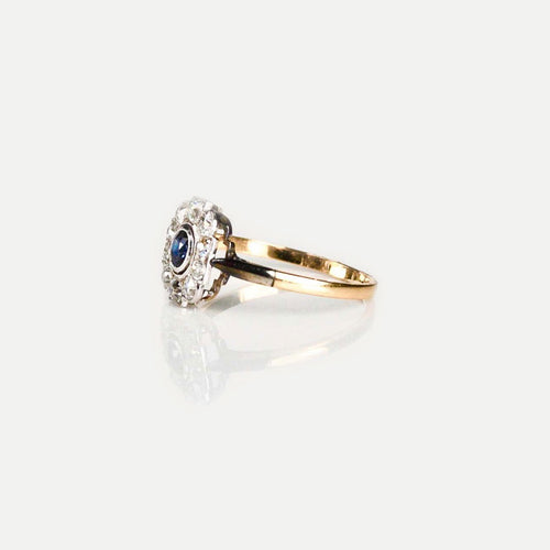 Art Deco 18ct Gold, Platinum, Montana Sapphire & Diamond ring