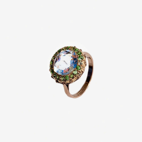 5 carat Aquamarine 18ct gold ring surrounded by 20 demantoid garnets