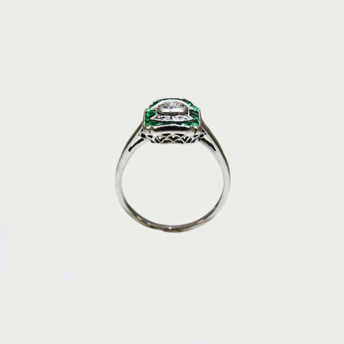 Emerald & Diamond Art Deco ring