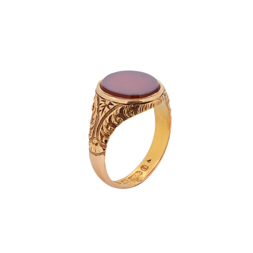 A Carnelian 15ct Gold Signet Ring by Edward Vaughton