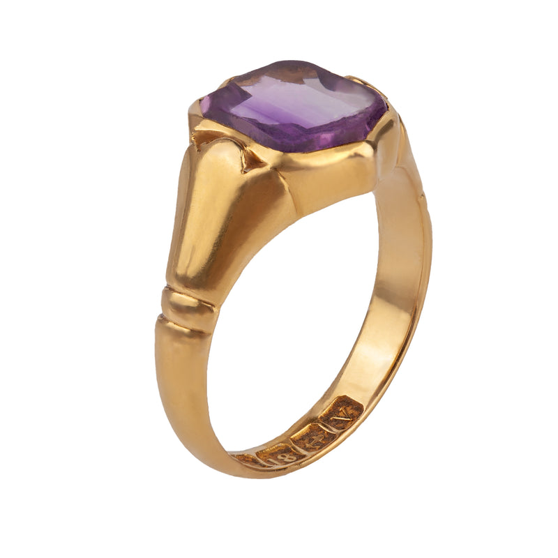 An 1890s Gold Amethyst shield ring