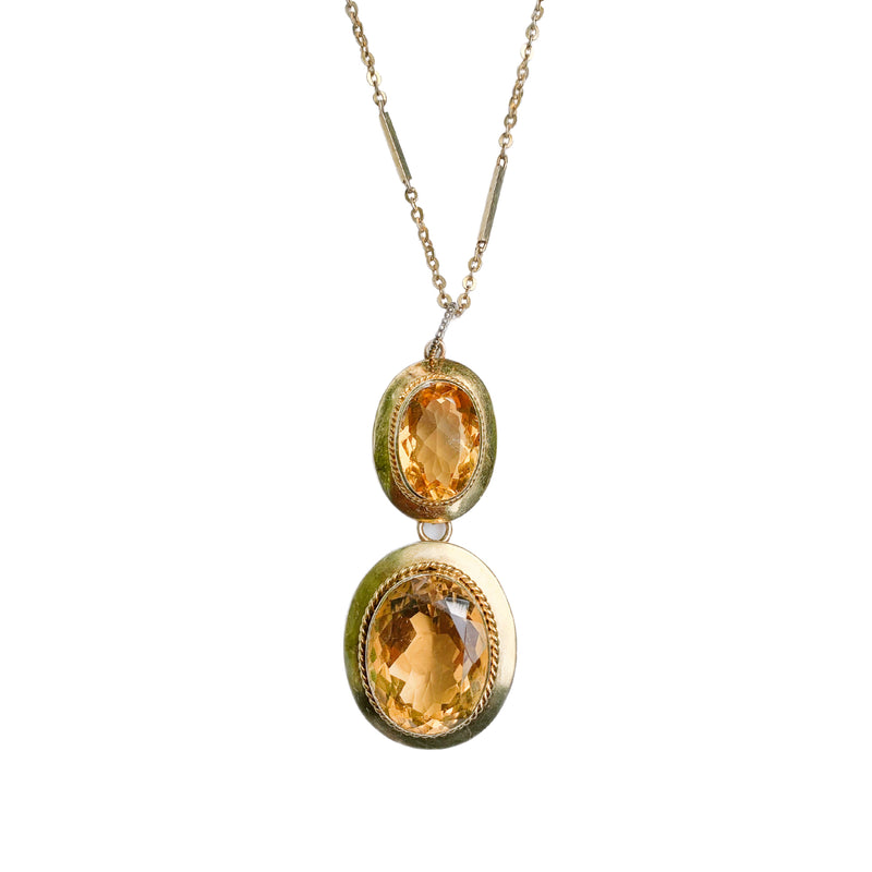 Gold, Citrine Pendant & Chain