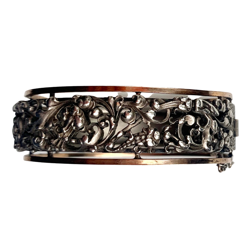 An Art Nouveau French Silver and Gold Bangle