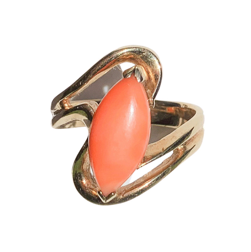 A 1970s Coral and Gold Ring