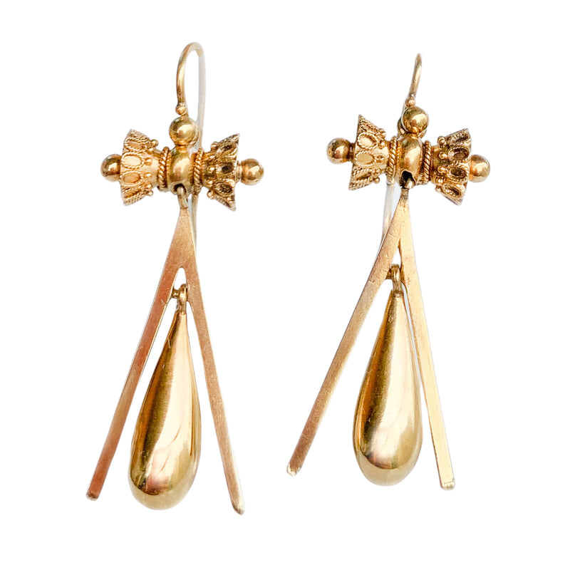 Victorian 18ct Gold Earrings c.1880