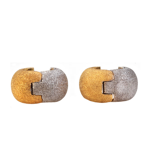 A 1980s Pair of Two Tone Frosted Earrings