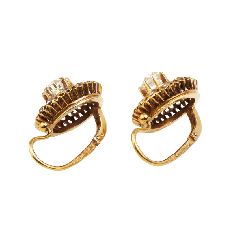 A pair of Russian Gold and Diamond Earrings by Khlebnikov