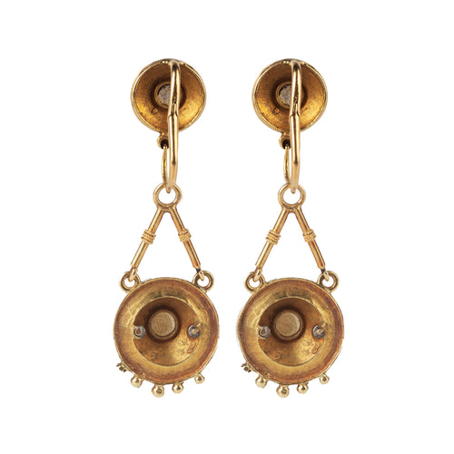 A pair of Gold Enamel and Pearl drop Earrings