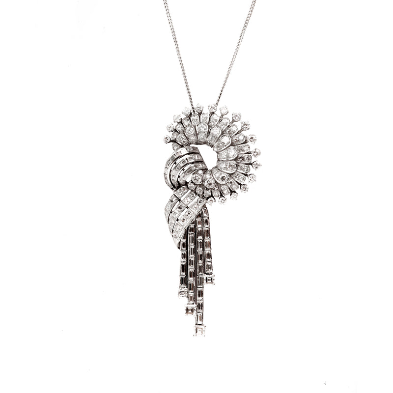 A 1950s Diamond and White Gold Slip Knot Pendant Necklace