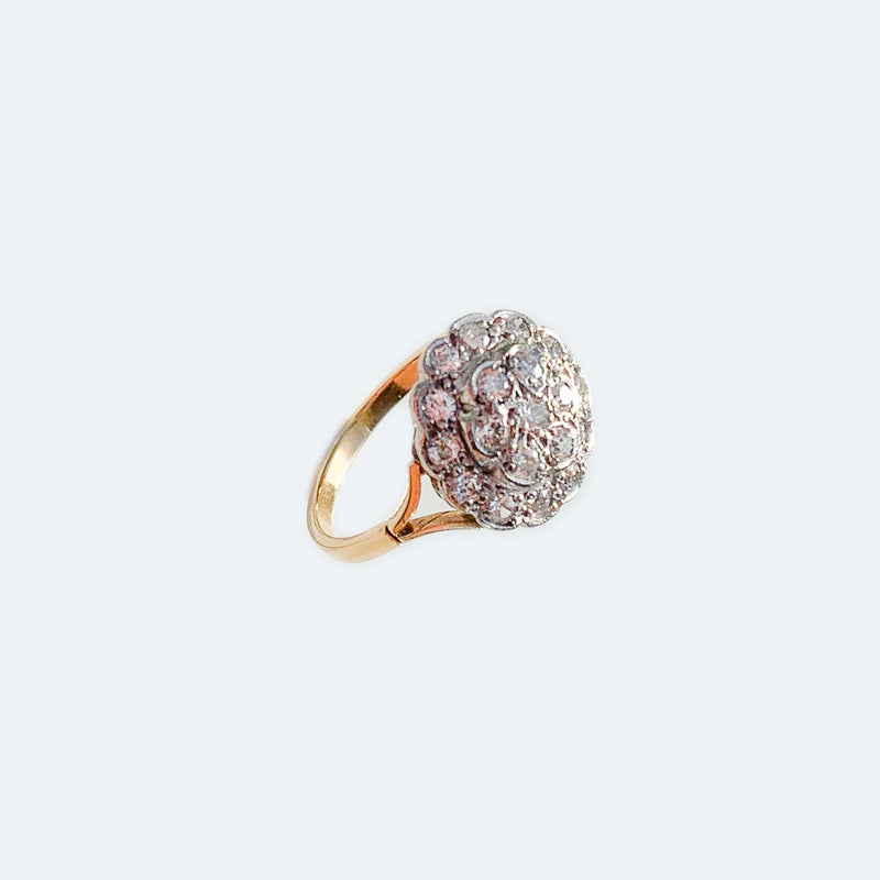 Edwardian Diamond Cluster Daisy 18ct Gold Ring