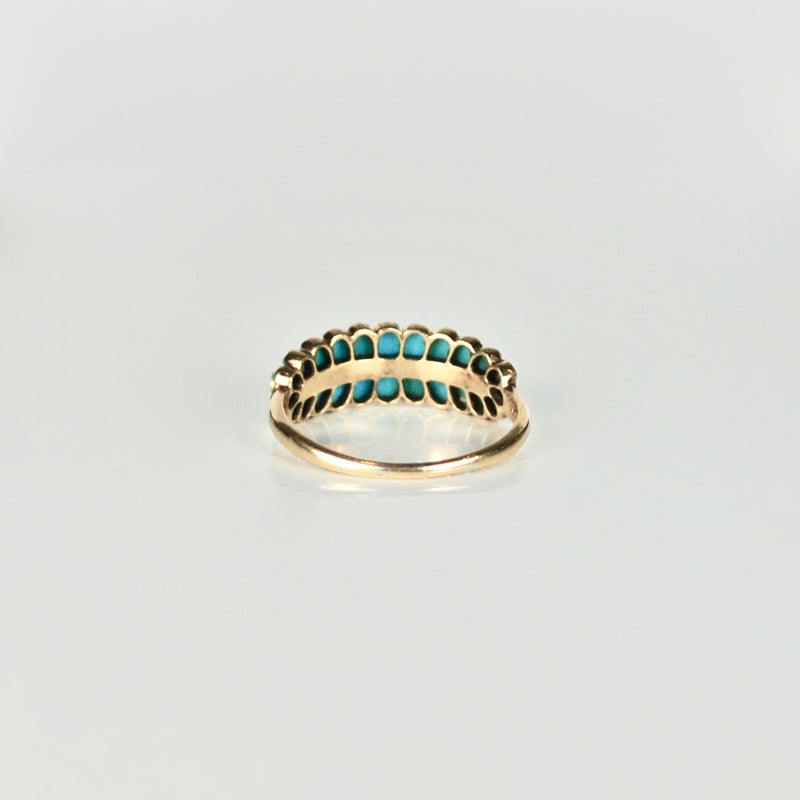 Two row Turquoise 18ct Gold ring inset with tiny Diamonds
