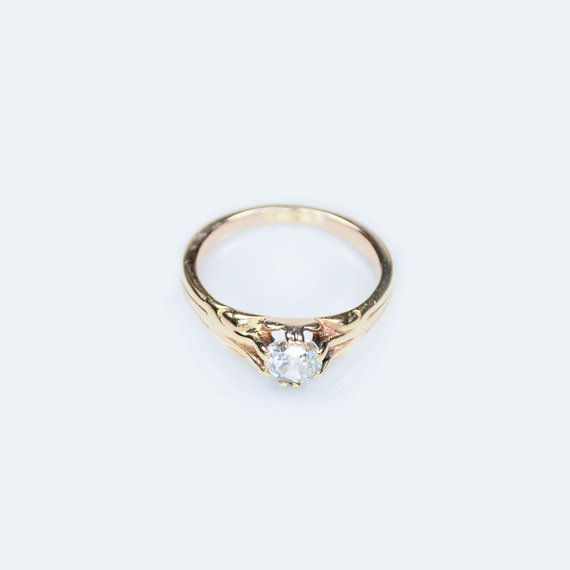 Victorian 18ct Gold Old Mine Cut Diamond Solitaire Ring