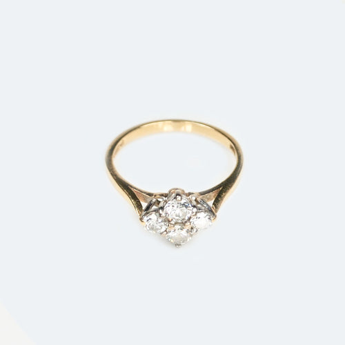 Modern four Diamond 18ct Gold ring c.1989