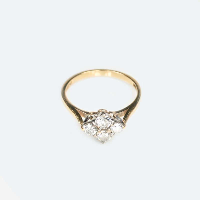 Modern Four Diamond 18ct Gold ring