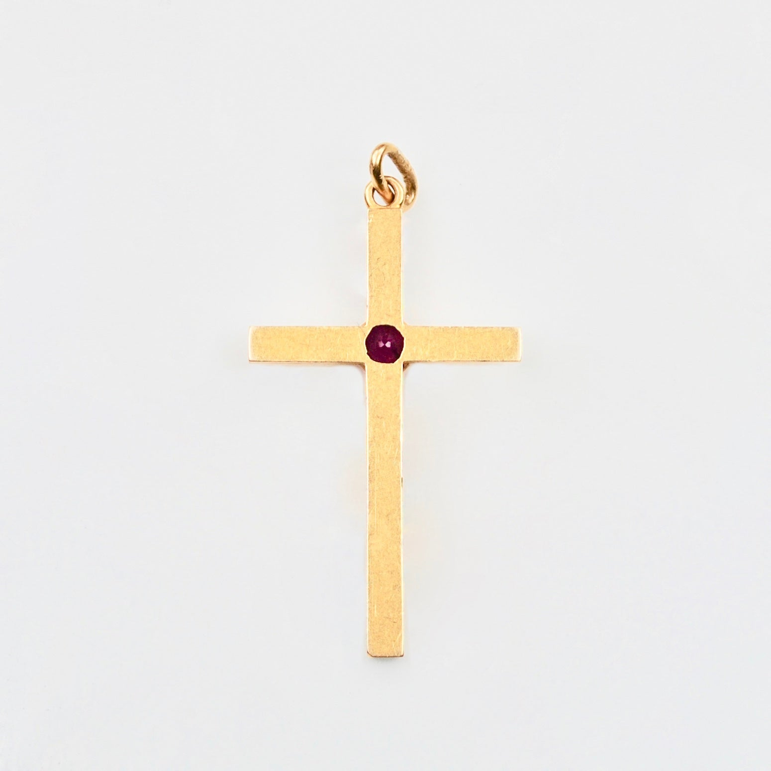 Edwardian Blood red Ruby 18ct Gold Cross c. 1900