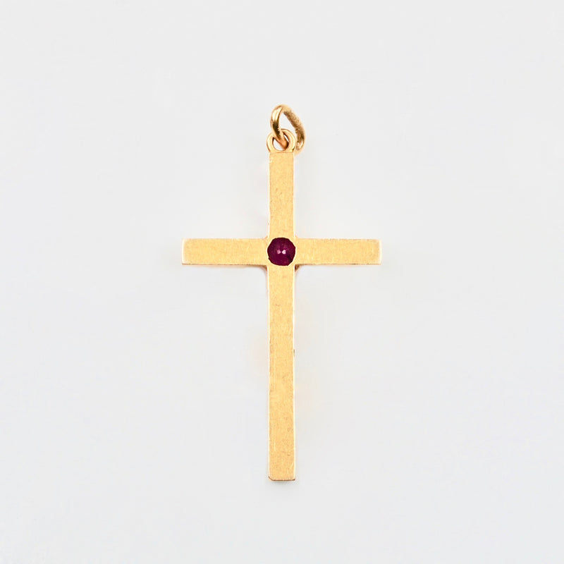 Edwardian Blood red Ruby 18ct Gold Cross